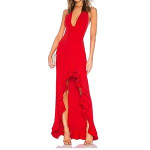 Red gown, lovers & friends